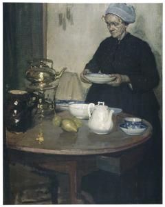 Vrouw aan de tafel