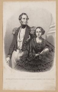Portret van Hendrik prins van Oranje-Nassau (1820-1879) en Amalia Maria da Gloria Augusta Prinzessin von Sachsen-Weimar-Eisenach (1830-1872)