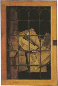 Trompe l'oeil van een glas-in-loodraam met documenten en een ganzenveer