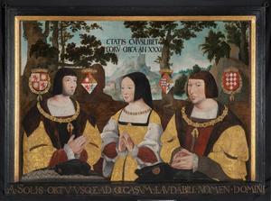 Portret van  Elisabeth van Culemborg (1475-1555), Johan van Luxemburg (....-....) en Antoine de Lalaing van Hoochstraeten (1480-1540)