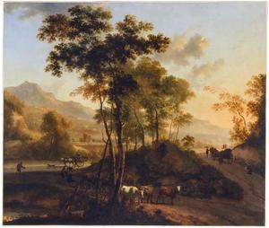 Italianiserend landschap met runderen en wagens
