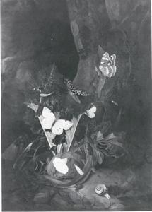 Hagedis en een slang; en andere dieren onderaan een boom