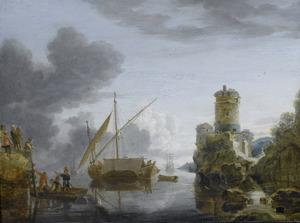 Zeegezicht een met toren en zeilschepen