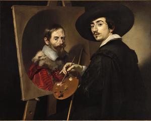 Zelfportret van Nicolas  Régnier , werkend aan een portret van zijn mecenas Vincenzo Giustiniani (1564-1637)