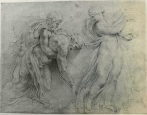 Dronken Silenus met faun en maenade