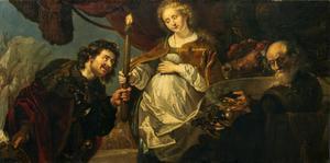 Chariklea overhandigt Theagenes een fakkel om het offervuur aan te steken (Heliodorus: Aethiopica)