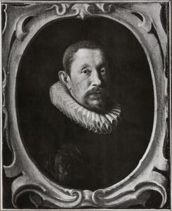 Portret van een man in een gebeeldhouwde cartouche