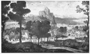 Landschap met de kindermoord te Bethlehem en de vlucht naar Egypte
