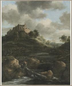 Heuvelachtig landschap met een waterval en kasteel Bentheim