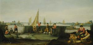 Rivierlandschap met rustende vissers aan de waterkant