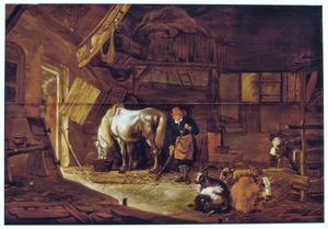 Stalinterieur met paard, geit, schaap, koeien en een knecht met een hooivork