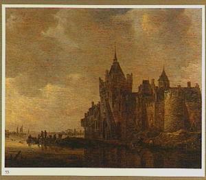 Rivierlandschap met kasteel op rechteroever