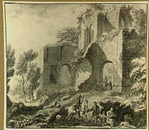 Italianiserend landschap met ruïne en bedelaars