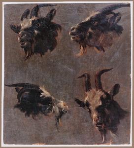 Studie van vier geitenkoppen