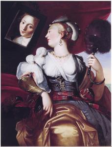De vijf zintuigen: jonge vrouw voor de spiegel, allegorie op het Gezicht