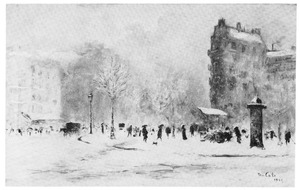 Een boulevard in de sneeuw, Parijs