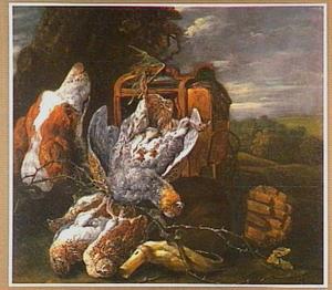 Hond bij vogelkooi, vogelnet, twee kwartels en een patrijs
