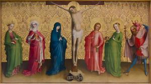 De kruisiging van Christus met heiligen