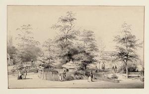 Gezicht op vroegere tuin ' Middenhof'