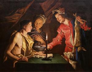 Esau verkoopt Jacob zijn eerstgeboorterecht voor een kom linzen (Genesis 25:31)