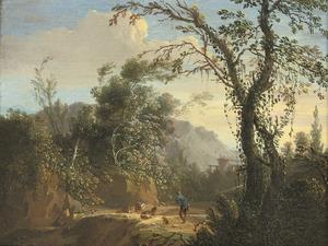 Zuidelijk landschap met een herder en zijn kudde