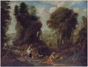 Zuidelijk landschap met twee herderinnen bij een kudde geiten