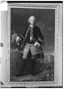 Portret van Diederik Jacob van Tuyll van Serooskerken (1707-1776), met in de achtergrond Slot Zuylen