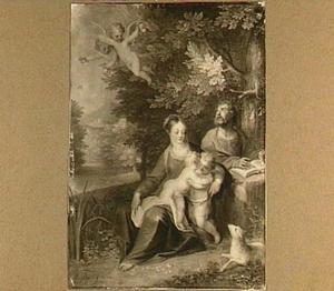 De heilige familie met Johannes de Doper in een boslandschap