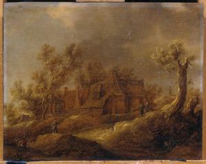 Duinlandschap met enkele figuren op een landweg voor een boerderij