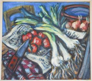 Stilleven met prei, tomaten en uien
