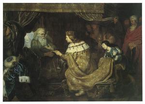 Koning David instrueert op zijn sterfbed Salomo