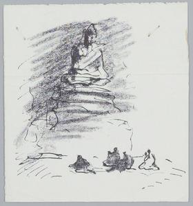Biddende figuren voor een Boedha