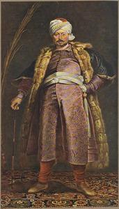 Portret van de Antwerpse koopman Nicolaas de Respaigne (?-?) in Turks kostuum als Jerusalem pelgrim