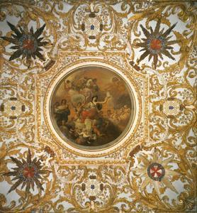 Allegorie op detriomf van porselein in Europa