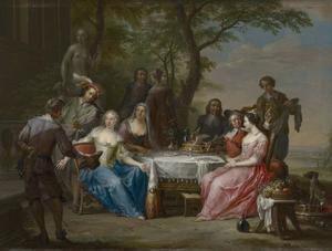 Elegant gezelschap dinerend  in de buitenlucht