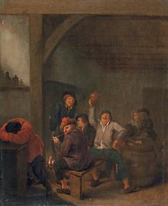 Interieur met vrolijk drinkend en rokend boerengezelschap