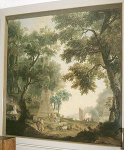 Klassiek arcadisch landschap obelisk en sfinx
