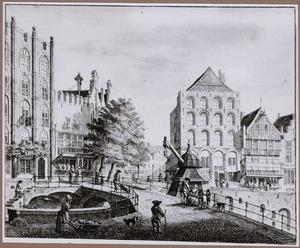 De Oudegracht met de Bezembrug en de stadskraan, te Utrecht