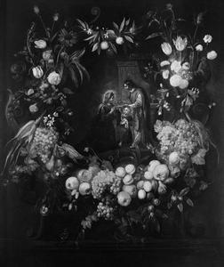De laatste communie van Maria in een bloemen- en vruchtenkrans