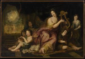 Allegorie van Muziek (portret van Mme. de Maintenon met Lodewijk XIV zonen)