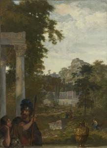 Italiaans landschap met twee Romeinse soldaten