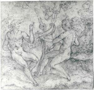 De Zondeval: Eva neemt de appel aan van de slang (Genesis 3:6)
