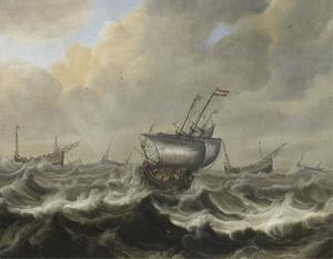 Schepen op een stormachtige zee