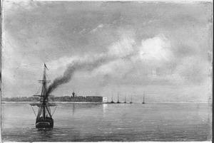 Reis van Suez naar Nagasaki via Oost-Indië: Gezicht op Suez van de zeekant