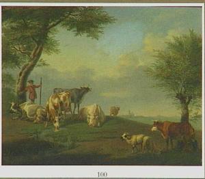 Landschap met vee, een herder en een melkmeid
