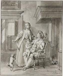 Een violist met zijn vrouw en kind in een interieur (Het gehoor)
