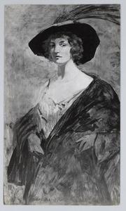 Portret van dame met hoed
