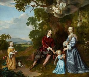 Portret van Pieter van der Graeff (1619-1653), Sophia van der Hooghe (1629-?) en hun kinderen