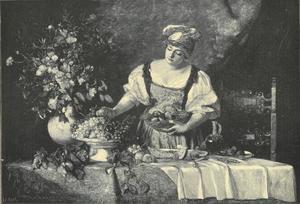 Jonge vrouw achter een tafel met vruchten en een vaas bloemen