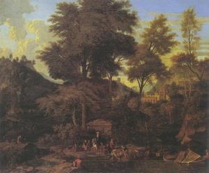Zuidelijk landschap met reizigers bij een aanlegplaats